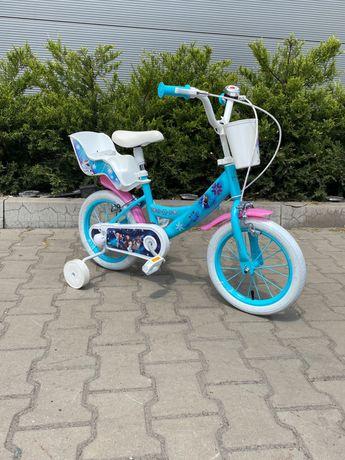 """Rowerek dla dziewczynki 14"""" Disney Frozen kraina lodu koszyczek +"""