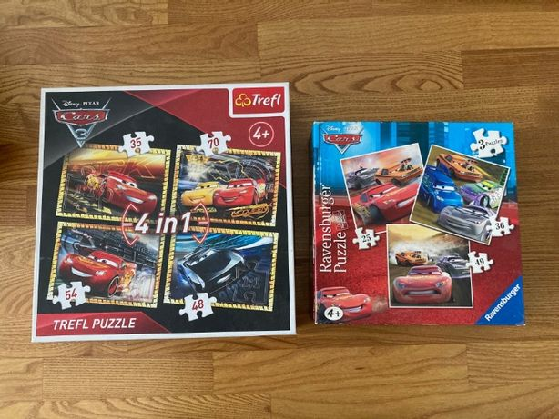 Puzzle 7 różnych, Auta, Cars, Disney Pixar Zygzak McQuenn Złomek