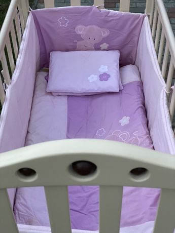 Кроватка ВЕРЕС + матрасик + постелька + защитный бортик и держатель