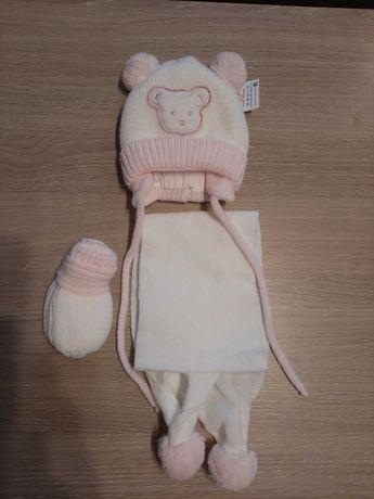 Komplet nowa czapka + szalik + rękawiczki 62-68