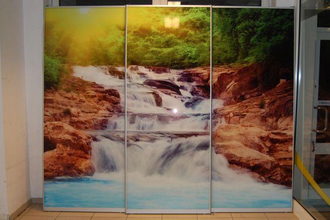 Drzwi prze suwane Szafy Wnęki Front z grafiką na szkle Wodospad 2,5x3m