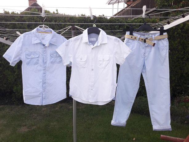 Zakończenie roku 2 koszule krótki r. + spodnie eleganckie 128 galowy
