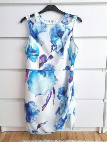 Biala sukienka w niebieskie kwiaty shein blogerska wesele komunia L 40