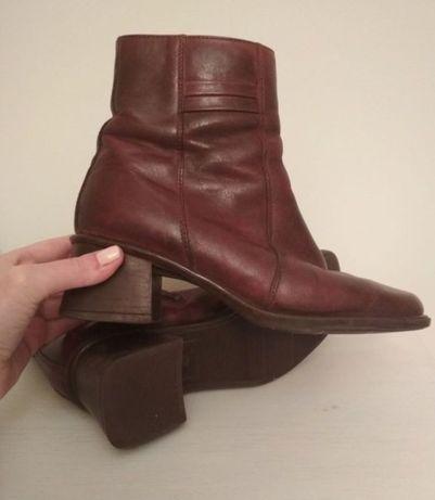 Botki skórzane brązowe krótkie kozaki rozmiar 40 26 cm skórzane buty