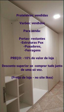 Roupeiro Pax, portas, acessórios komplement, Ikea
