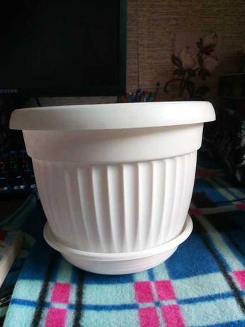 doniczka biała z podstawką plastikowa sprzedaż/zamiana