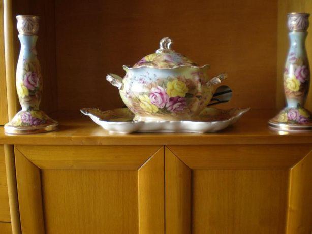 centro de mesa com castiçais pintado a mão