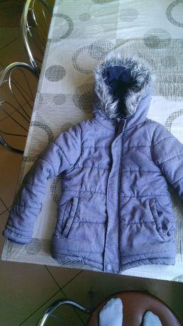 Kurtka zimowa szara chłopieca r 128 z kapturem niezniszczona