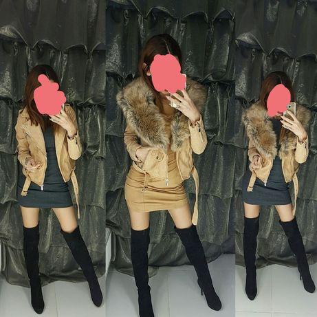 Ramoneska zamszowa z odpinanym futerkiem rozmiar S/M