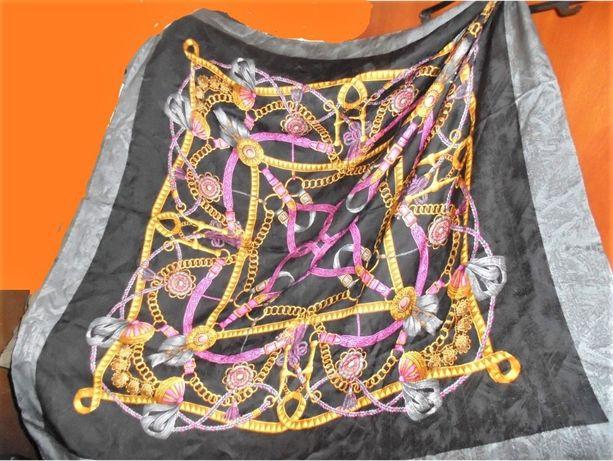 Платок Палантин шелк 100% Италия в стиле Versace Gucci серебро черный