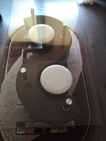 Stolik kawowy ława prostokątna z pufami wenge