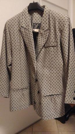 Casaco de Tecido (cinza, ás bolinhas pretas)