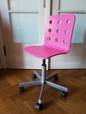 Krzesło dziecięce różowe obrotowe biurowe jules ikea
