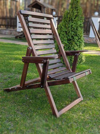Кресло шезлонг из натурального дерева