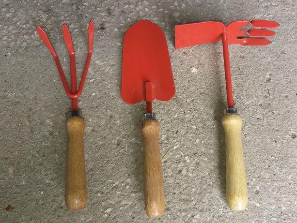 Conjunto de 3 peças jardinagem - ancinho, pá e sacho/enxada