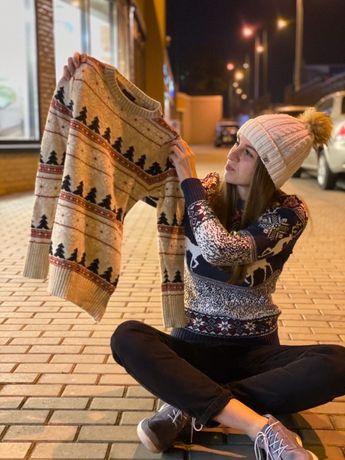 Волшебный женский свитер с оленями,новогодний шерстянной свитер s,m,l