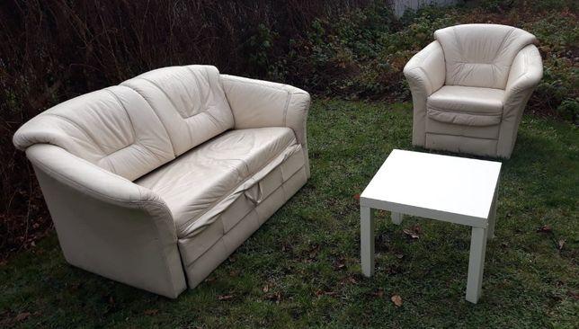 Sofa skórzana z funkcją spania + fotel