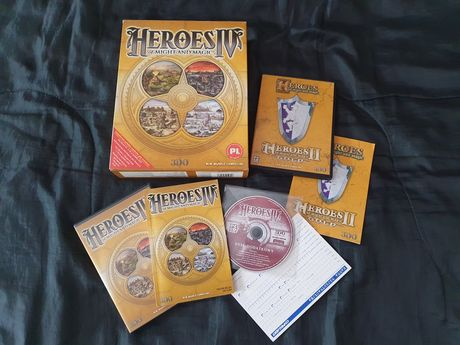 Heroes IV II I Big BOX gra PC kolekcjonerska pudełko instruk. dodatek