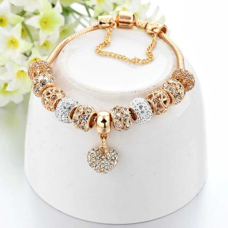 CUDOWNA bransoletka modułowa złota charms beads pandora apart