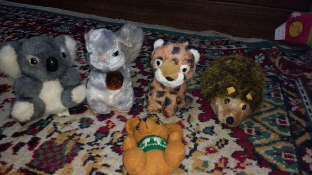 Пакет маленьких мягких игрушек: белка, коала, гепард, мышка, ёж.