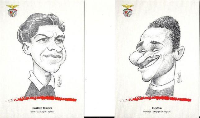Postais caricaturas jogadores Benfica