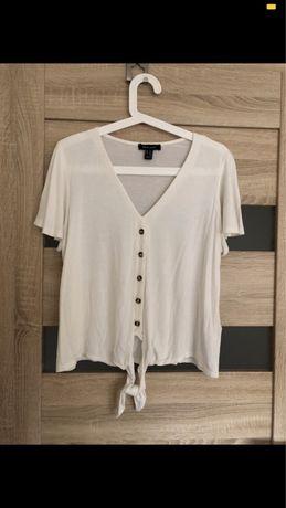 Biała bluzka z guzikami i wiązaniem New Look