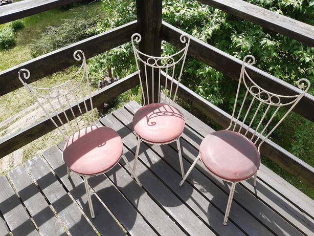 Krzesło krzesła taras werandę balkon Sopot lata 70te PRL metalowe