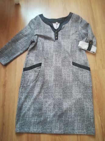 Sukienka podwijane rękawy r. 50 wstawki z Eco skóry