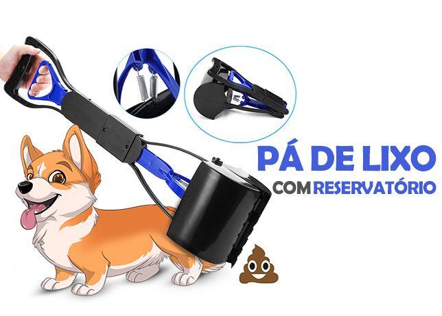 Pa de lixo com reservatorio para animal de estimacao, portatil