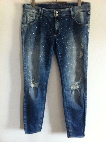 GAS spodnie jeansy z kryształkami 31/28