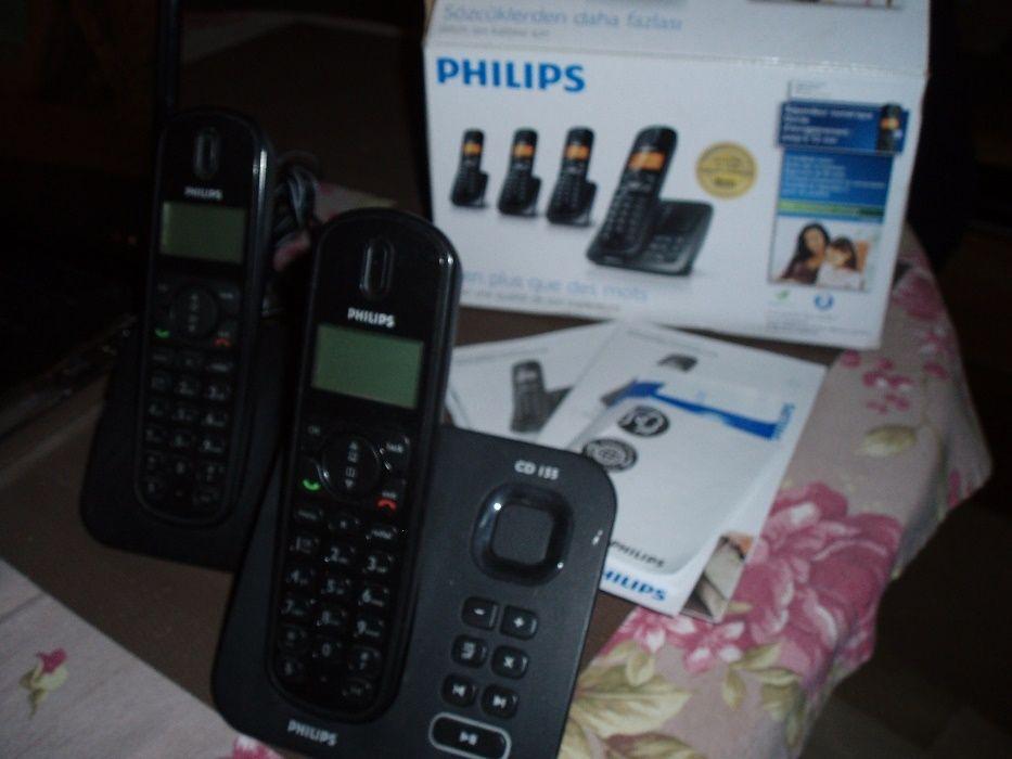 Telefon bezprzewodowy 2 słuchawki stacjonarny PHILIPS CD155 sekretarka Warszawa - image 1
