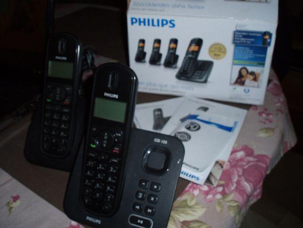 Telefon bezprzewodowy 2 słuchawki stacjonarny PHILIPS CD155 sekretarka