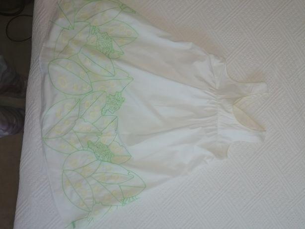 Vestido KENZO de menina branco com bordado amarelo verd