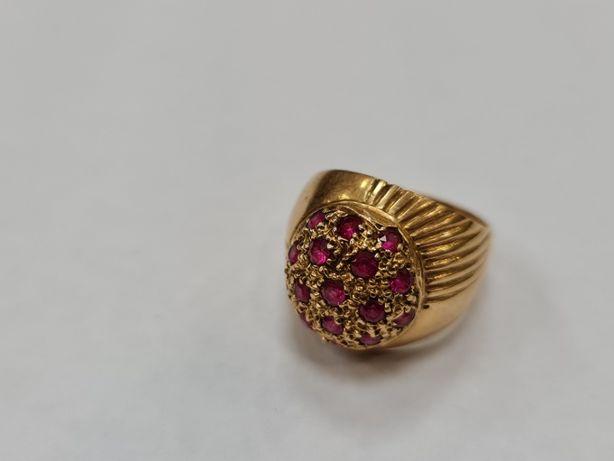 Wyjątkowy złoty pierścionek damski/ 750/ 6.37 gram/ R9/ Różowe kamieni