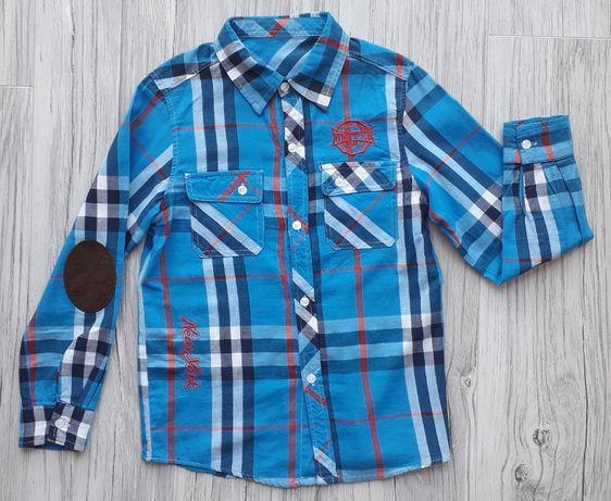 Koszula w kratę z odpinanym kapturem - r. 140/146 cm