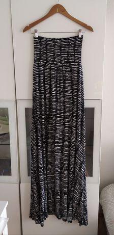 Długa sukienka ciążowa S H&M odkryte ramiona 36 H&M lato letnia suknia