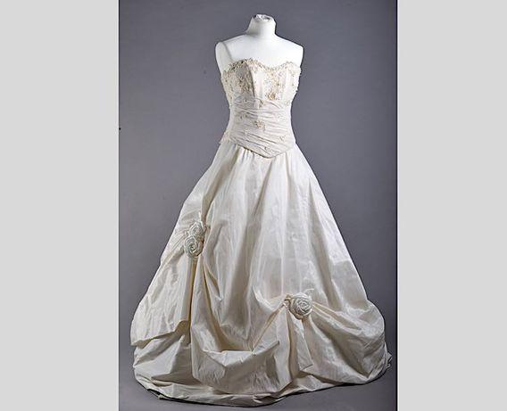Śliczna suknia ślubna na fiszbinach 2 częściowa rękawiczki perła r36