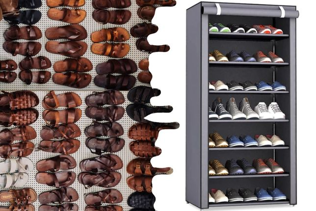 Складной тканевый шкаф полка для обуви 7 полок органайзер портативный