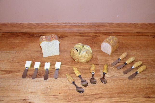 Bardzo fajny zestaw łyżeczek i nożyków w chlebkach i bułeczkach.