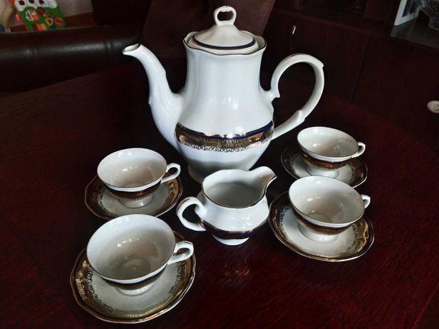 Serwis zestaw kawowy zastawa kawowa porcelana Karolina - granat złoty