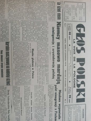 Reprint gazety Głos Polski z 1939r