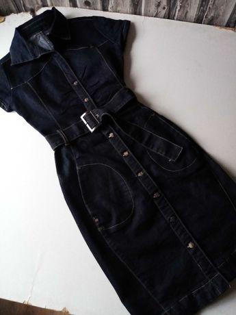 Sukienka ciemny jeans bawełniana