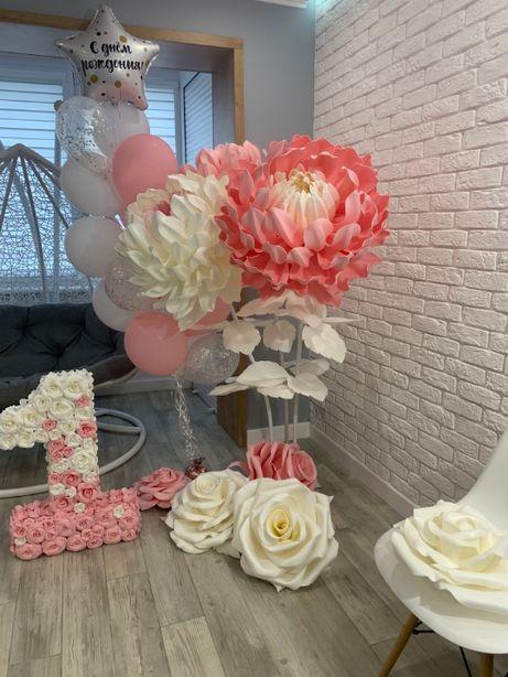Декор на Годик, единичка, фотозона на день рождения, ростовые цветы