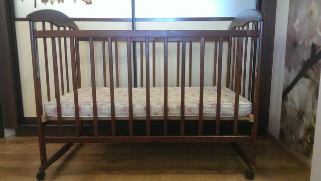 Детская кроватка Наталка (ольха темная) с аксессуарами
