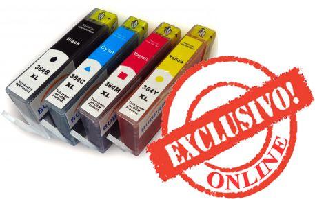 Conjunto 4 Tinteiros HP Compatíveis 364XL (Com Chip) Preto/Azul/Magent