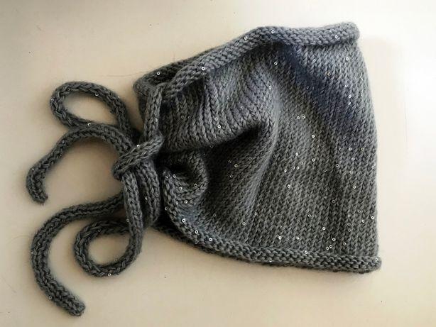 Komin na szyję robiony na drutach - damski