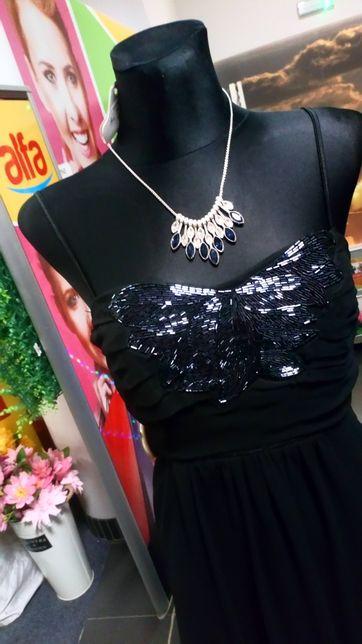 Nowa czarna piękna sukienka r. 36 S zdobiona Góra cena promocyjna