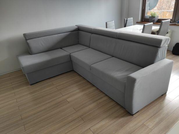 Narożnik rozkładany kanapa rogówka z funkcją spania szary sofa carabu