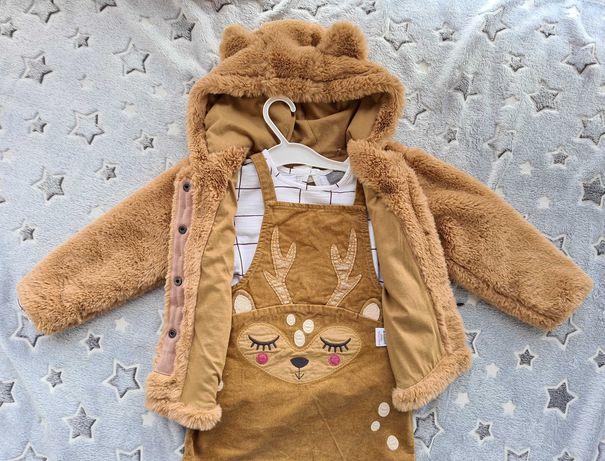 Cudowny komplecik next 98 futerko, sukienka, bluzka idealne na jesien