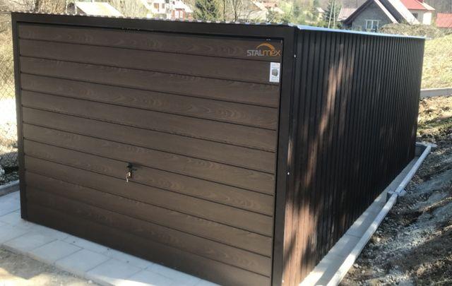 Garaż blaszany/garaz blaszak 3x5 blacha drewnopodobna orzech